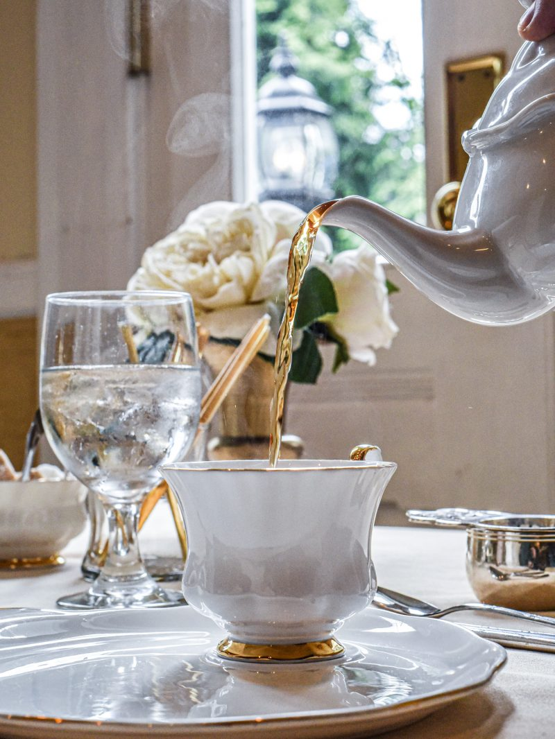 High tea being poured
